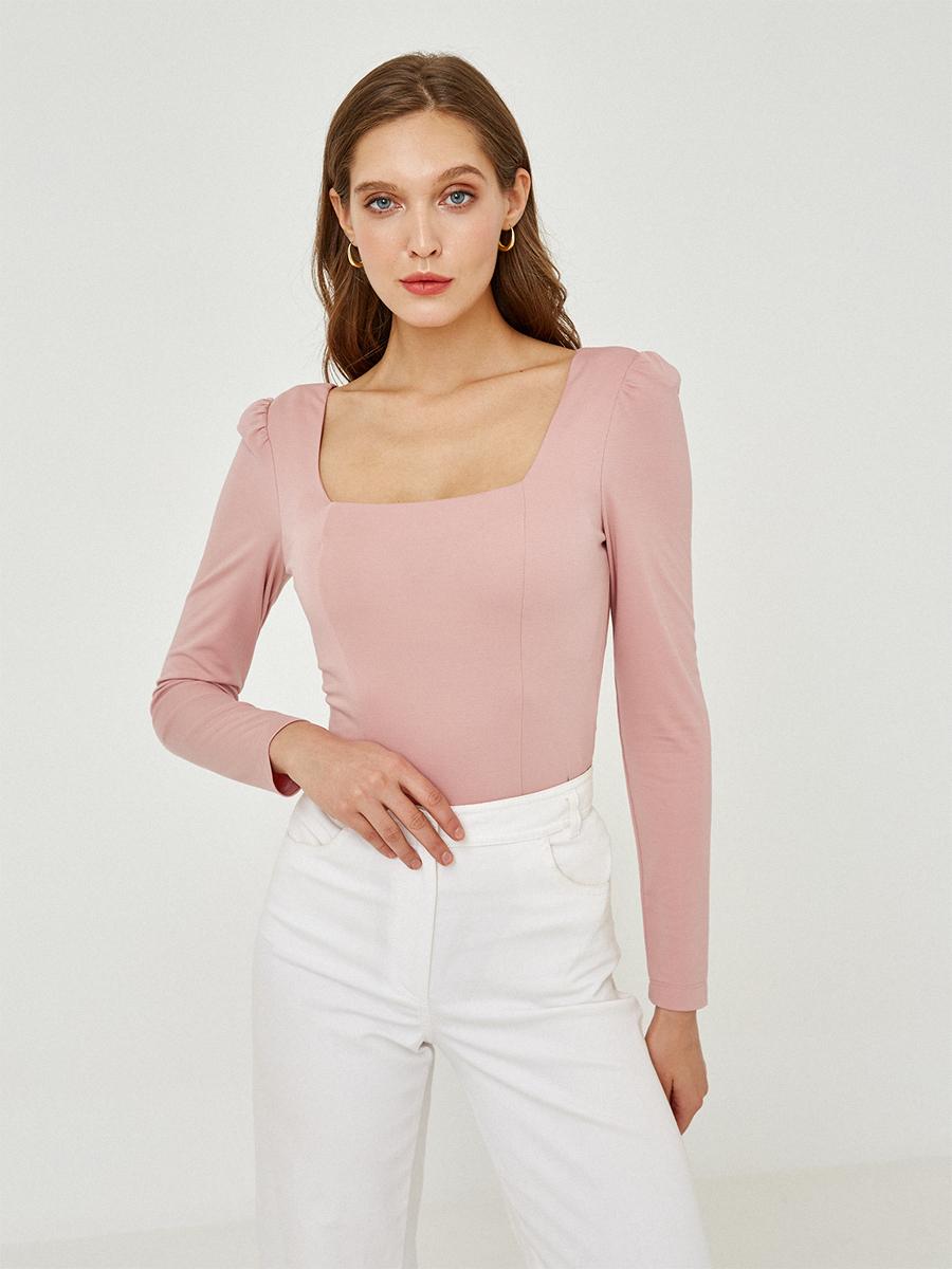 Блуза однотонная с длинным рукавом